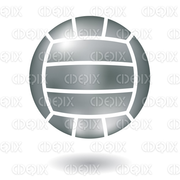 metallic silver volleyball ball icon stock illustration