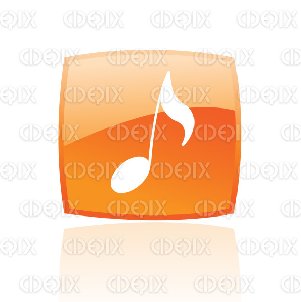 musical note icon on orange glossy button stock illustration