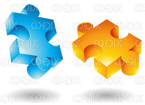 Blue And Yellow 3d Flying Jigsaw Puzzle Pieces Stock Illustration