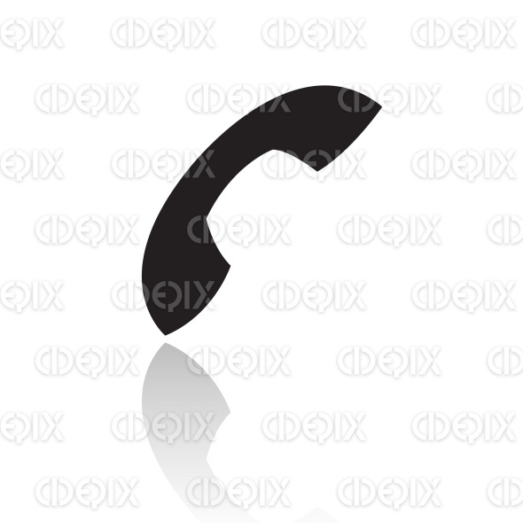 retro black phone (telephone) icon stock illustration