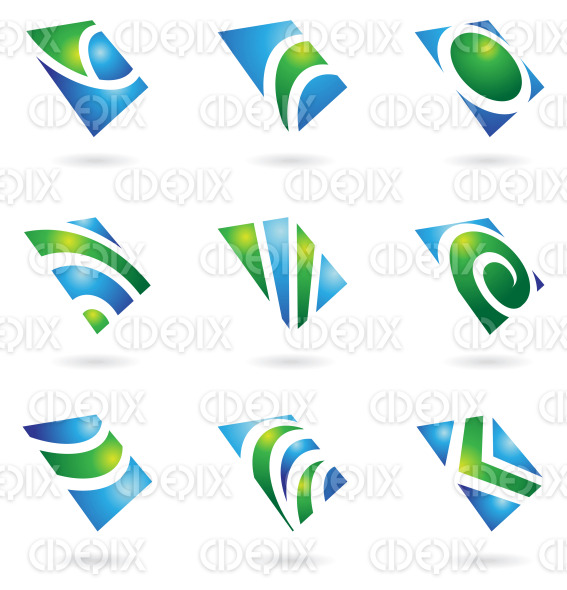 green blue shiny square logo icons in perspective stock illustration