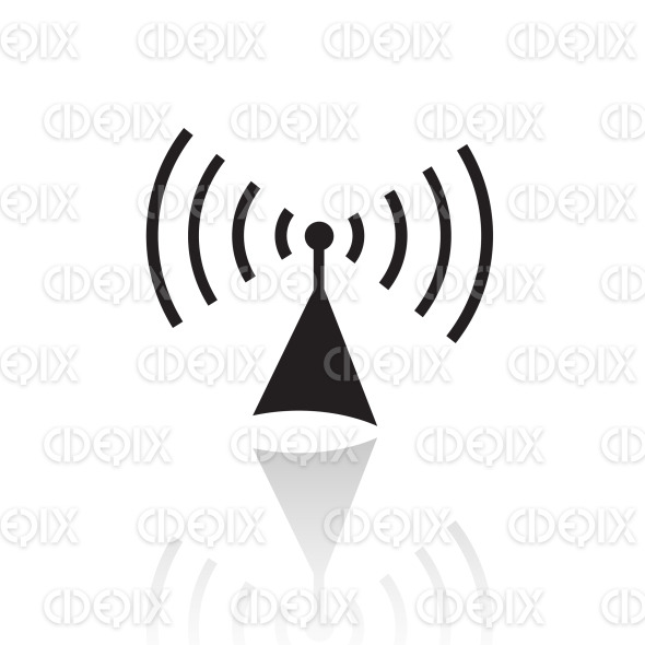 black line art radio icon stock illustration