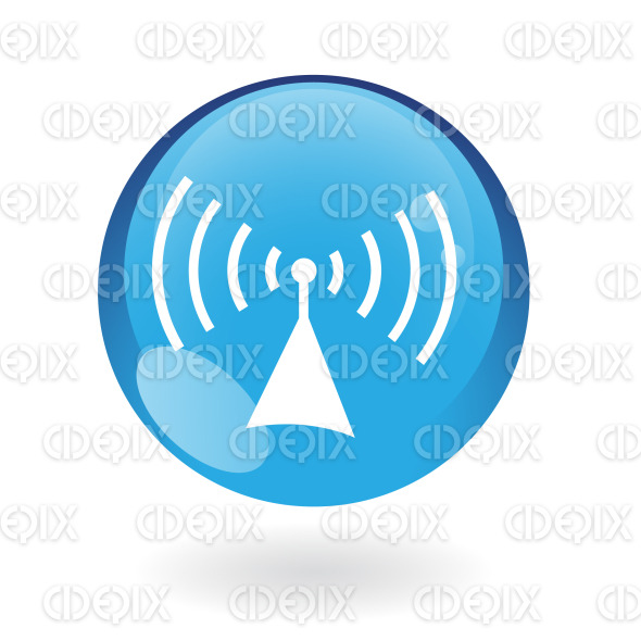 radio icon on blue glossy button stock illustration