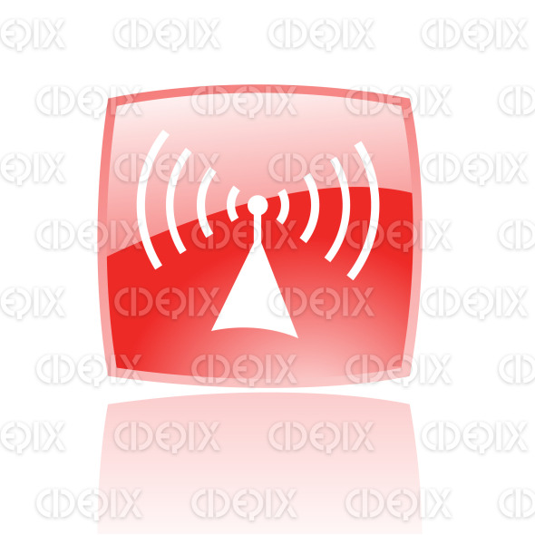 radio icon on red glossy button stock illustration