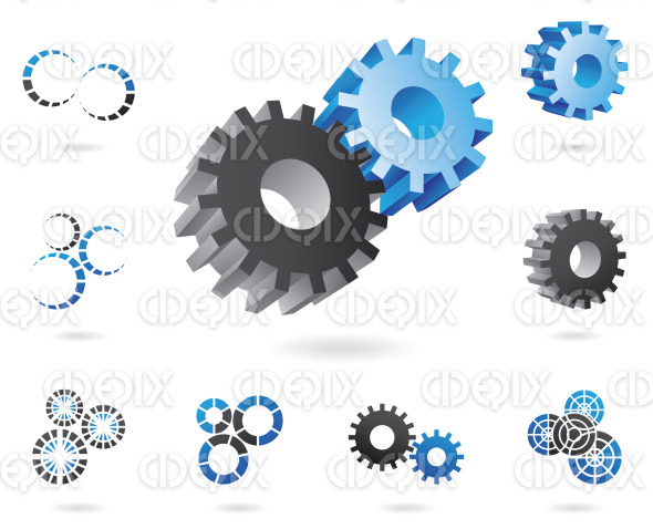 blue black 2d and 3d cogs, abstract icons stock illustration