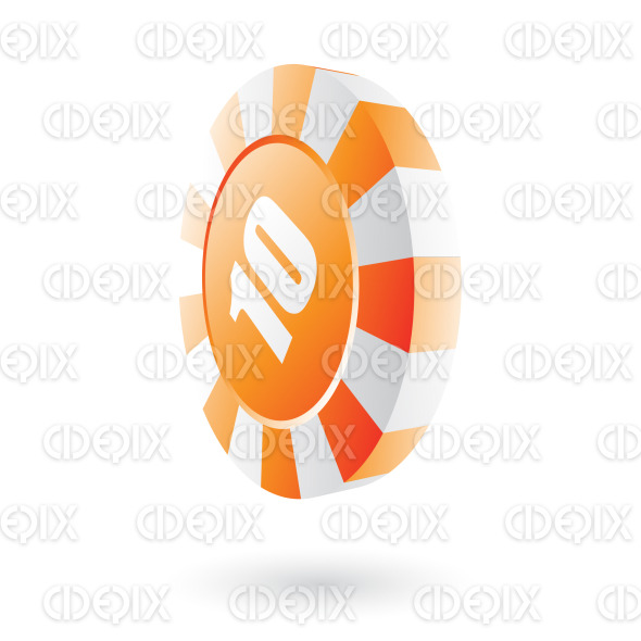 orange roulette chip icon stock illustration