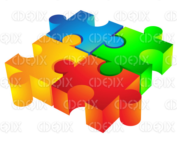 red, yellow, blue, green 3d jigsaw icon stock illustration