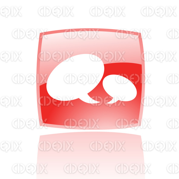 speech bubbles on glossy red button stock illustration
