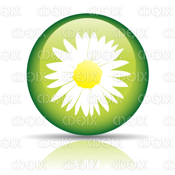 spring icon, daisy flower on green circle button stock illustration