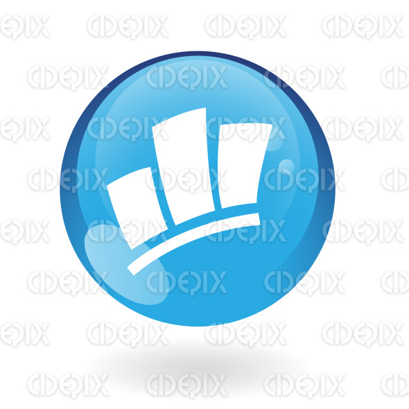 stats icon on blue glossy button stock illustration