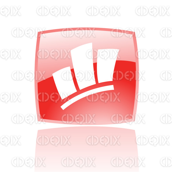 stats icon on red glossy button stock illustration