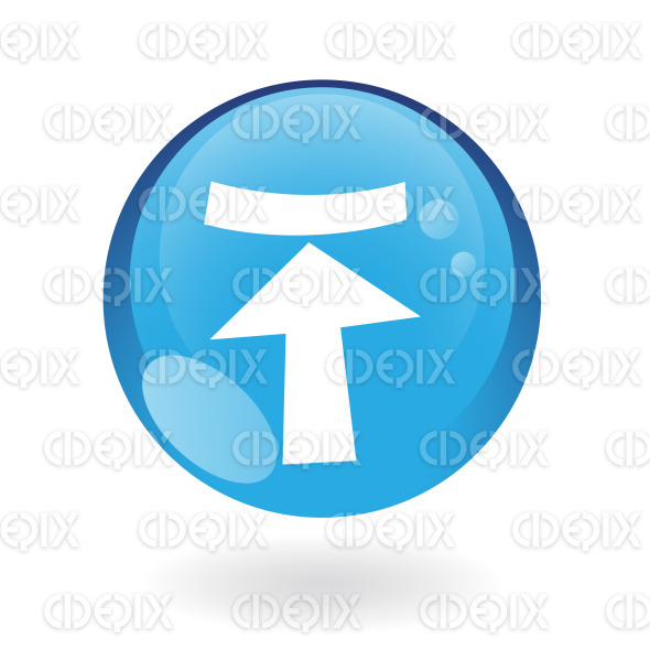 upload arrow icon on blue glossy button stock illustration