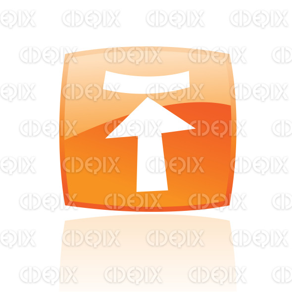 upload arrow icon on orange glossy button stock illustration