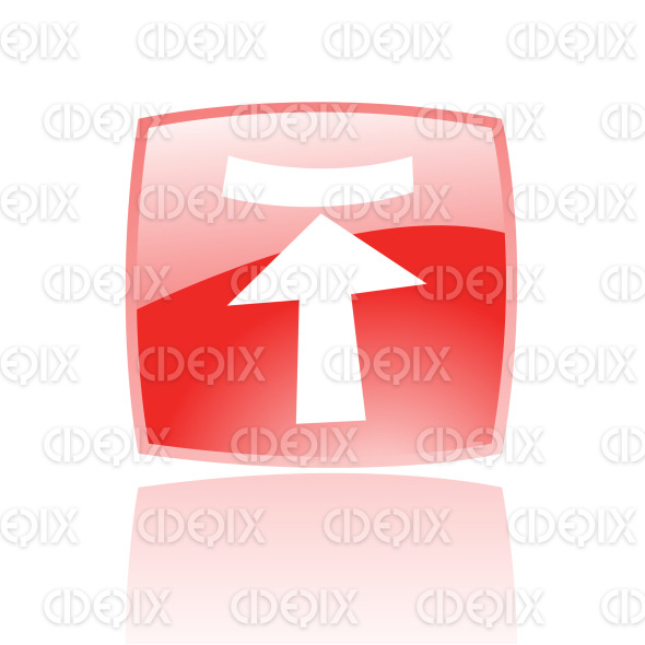 upload arrow icon on red glossy button stock illustration