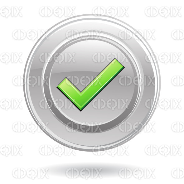 green valid, ok, tick sign on silver glossy disk stock illustration