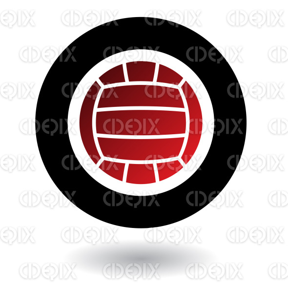 red and black volleyball ball logo icon stock illustration