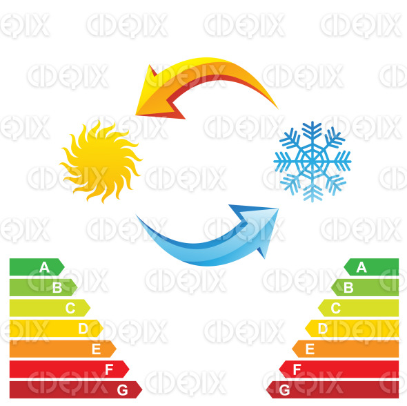 Air conditioning and energy class chart stock illustration