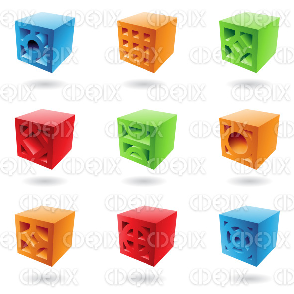 abstract colorful 3d brick cubes stock illustration