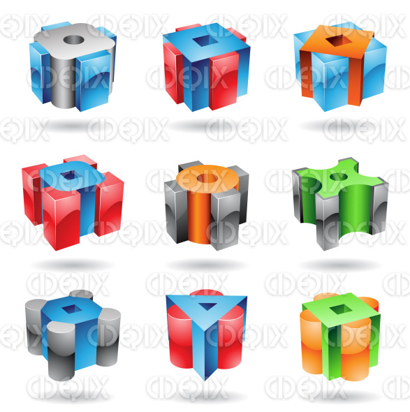 Cubic and cylindrical metallic glossy shapes stock illustration