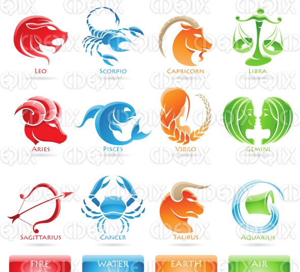 Zodiacs star signs and nature elements stock illustration