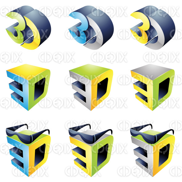 3D viewing technology icons and glasses stock illustration