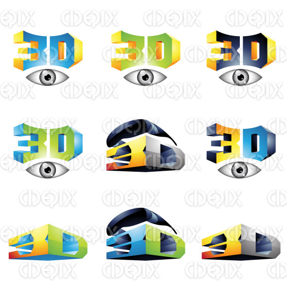 3D viewing technology icons, eyes and glasses stock illustration