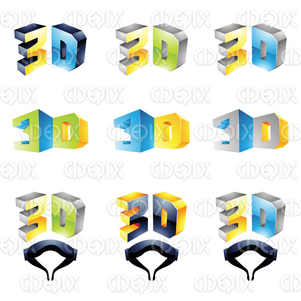 colorful 3D viewing technology icons and glasses stock illustration