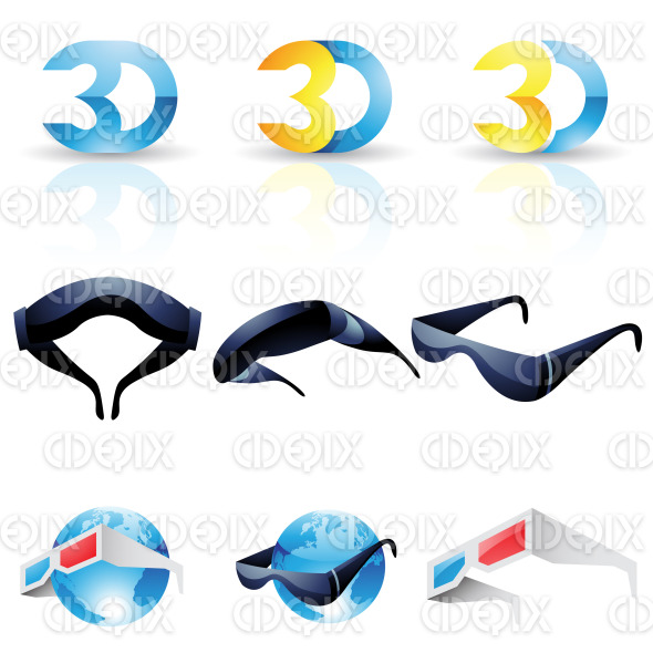 3D technology icons, anaglyph, stereoscopic glasses stock illustration