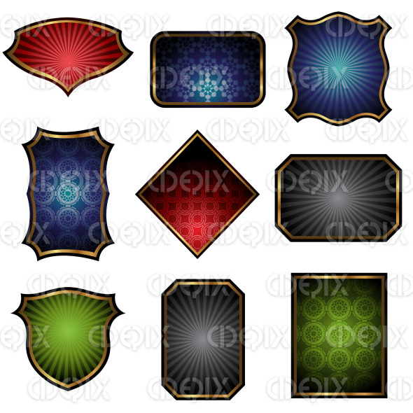 Labels with Golden Frames stock illustration