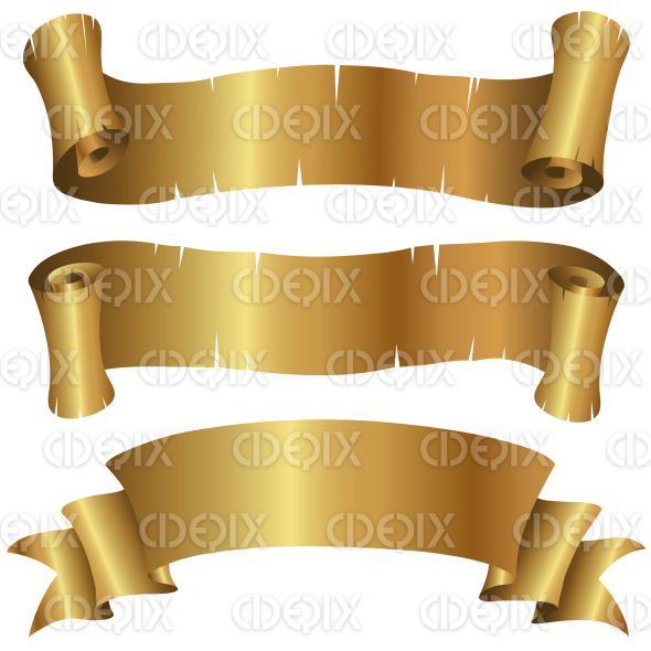 Curly Golden Banners Set stock illustration