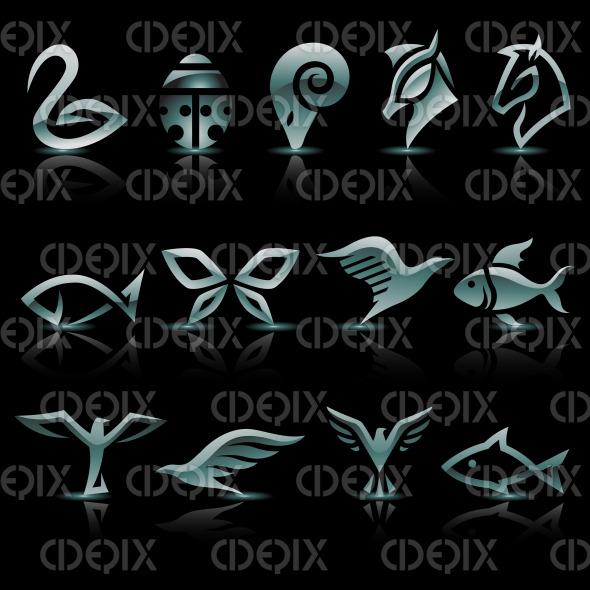 grey glass animals, birds, ladybug, butterfly, fish, horses, ram and eagle icons stock illustration