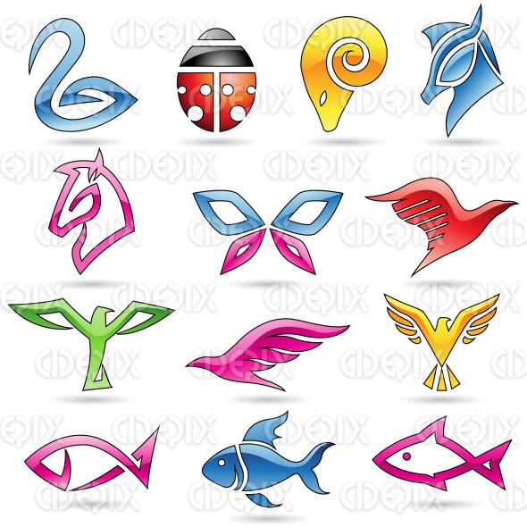 line art animals: birds, ladybug, butterfly, fish, horses, ram and eagle icons stock illustration