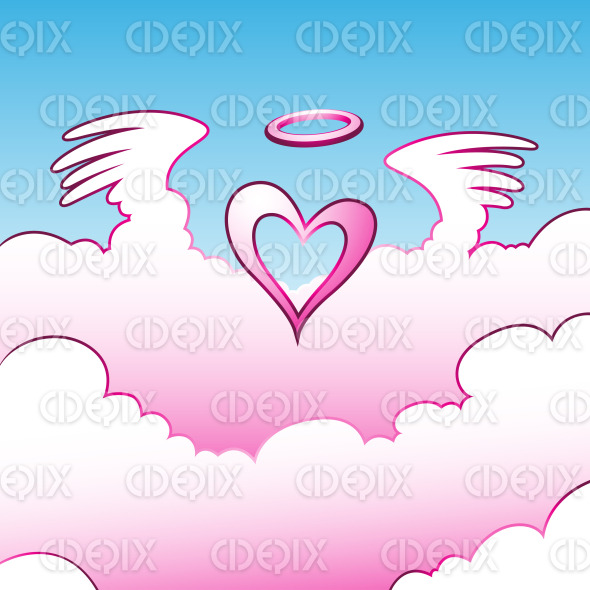 pink angel Heart over the Clouds stock illustration