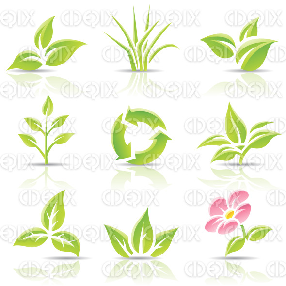 green leaves, grass, recycling symbol and a pink flower stock illustration