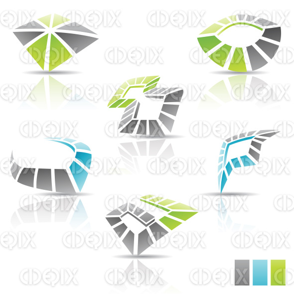 black green blue Abstract 3d Icons stock illustration