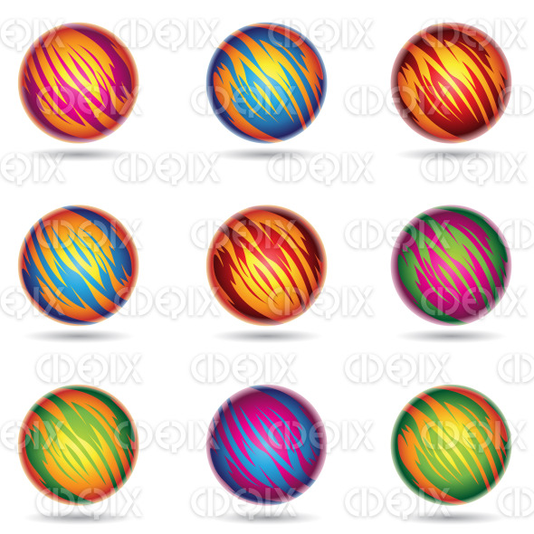 colorful planet like spheres with tiger stripes stock illustration