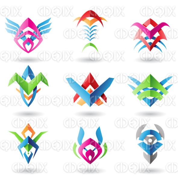 blade like colorful metallic tribal abstract icons stock illustration