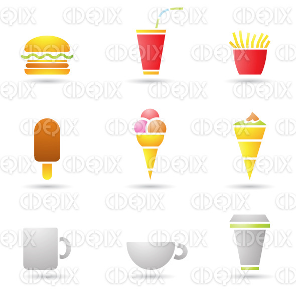 Ice Cream, coffee and Fast Food icons stock illustration