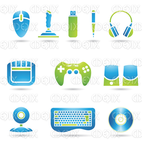 Computer PC Accessories and technology equipment stock illustration
