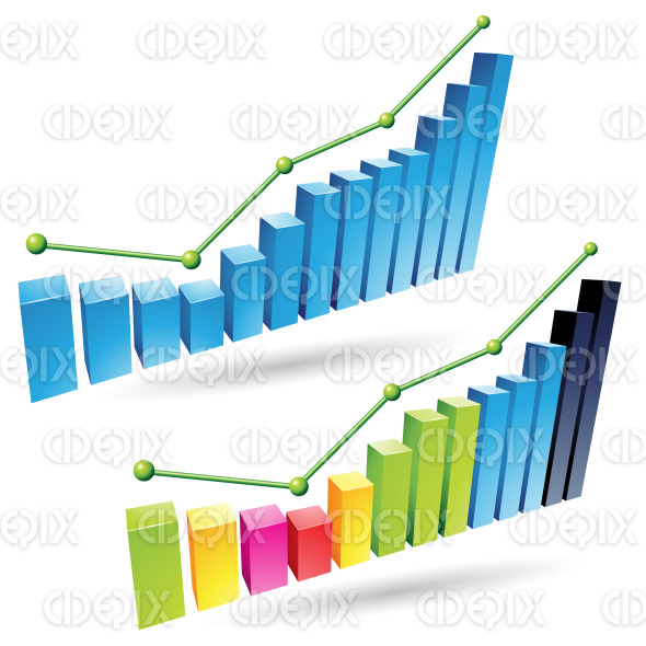 colorful 3d stat bars stock illustration