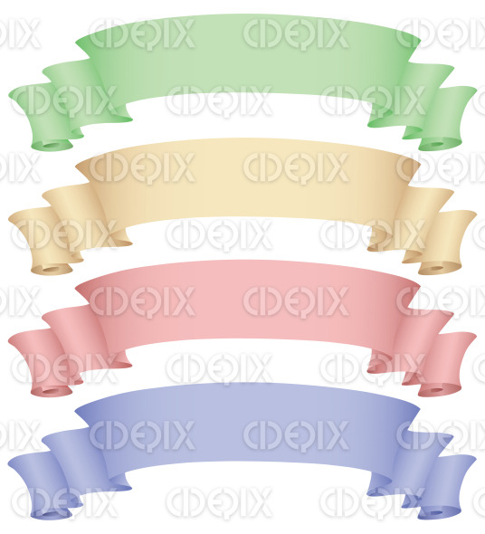 four banners in green, beige, pink, blue colors stock illustration