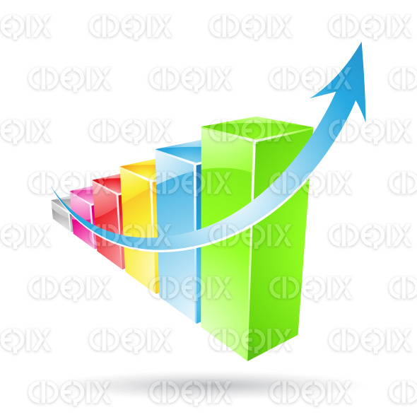colorful glossy stats bars stock illustration