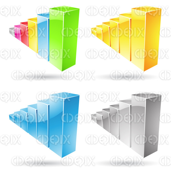 glossy and colorful stats bars icons stock illustration