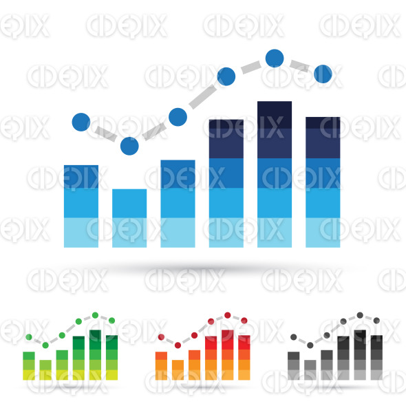 2d colorful stats graphs Icons stock illustration