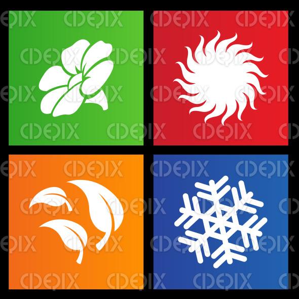 Metro style four seasons icons stock illustration