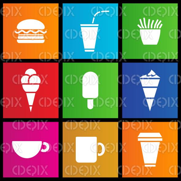 metro style Ice Cream, coffee and Fast Food stock illustration