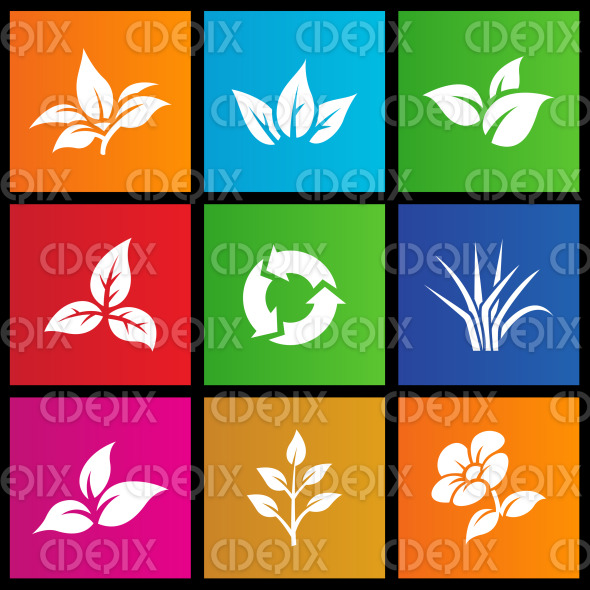 Metro style leaves, flower and recycling icon stock illustration