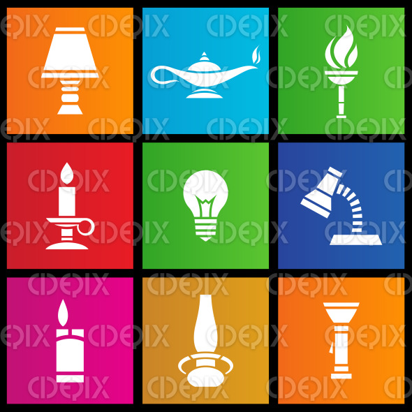 Metro style electrical and primitive light sources stock illustration