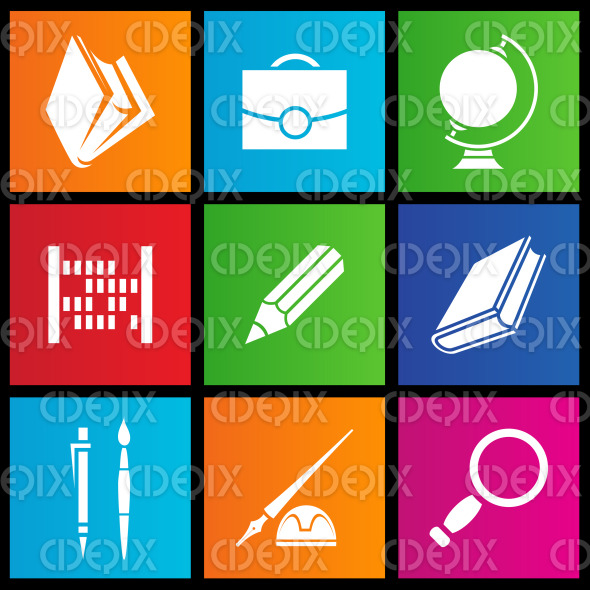 Metro style stationery, school and education objects stock illustration