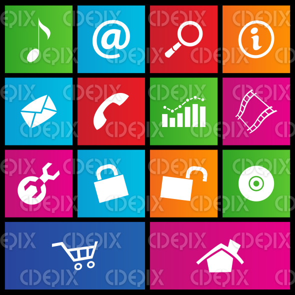 Metro style colorful web icons stock illustration